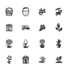 flower shop icons set vector image