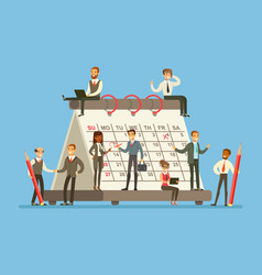 people working in business firm around giant vector image