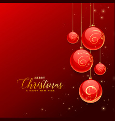 Red backgorund with hanging chrismtas decoration vector