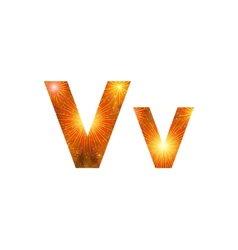 Set of letters firework V vector image