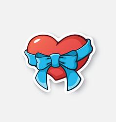 0390 sticker heart ribbon vector