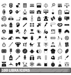 100 libra icons set simple style vector
