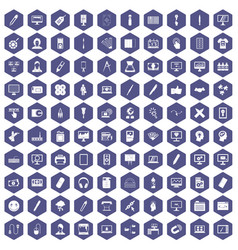 100 webdesign icons hexagon purple vector