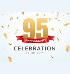 95 anniversary gold numbers with golden confetti vector image