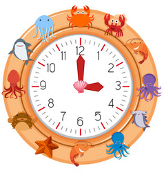 a clock with sea creature vector image