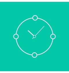 Abstract white clock isolated on green background vector