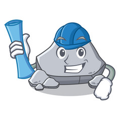 Architect stone character cartoon style vector