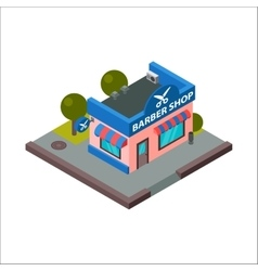 Barber shop isometric building isolated vector