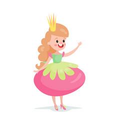beautiful smiling cartoon princess girl character vector image