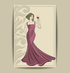 beautiful young lady with a glass wine vector image