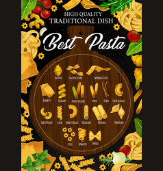 Best italian pasta on cutting board vector