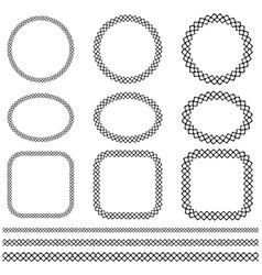 black hand drawn cross stitch frame and border vector image