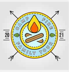 Camp logo with campfire camping scout symbol vector