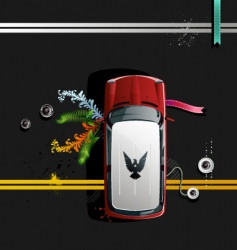 Car rides on paved road vector