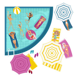 cartoon people in swimming pool vector image