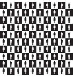 checkered pattern with human silhouette vector image