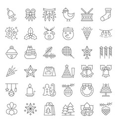 Christmas ornaments icon set editable stroke vector