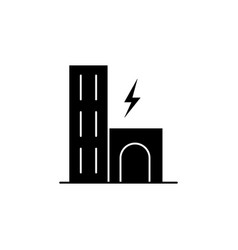 city building lightning icon on white vector image