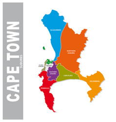 Colorful cape town suburb map vector