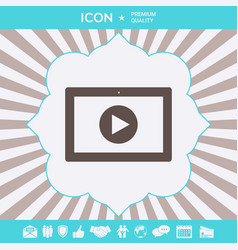 computer tablet with play button icon graphic vector image