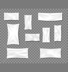 Cotton white empty smooth flag poster or placard vector