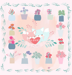 Cute cartoon fox in flower pot border frame vector