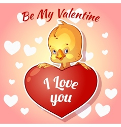 Cute chick for Valentines Day vector image