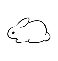 Cute rabbit silhouette on white vector
