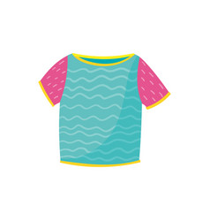 Cute turquoise t-shirt with pink sleeves and wavy vector