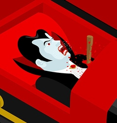 Death of Dracula Vampire Count in an open coffin vector