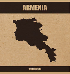 Detailed map of armenia on craft paper vector