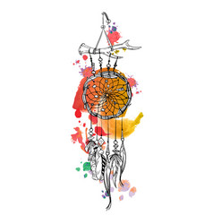 dreamcatcher and feather with watercolor strokes vector image