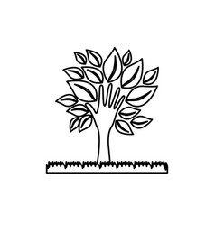Figure tree with leaves and grass icon vector