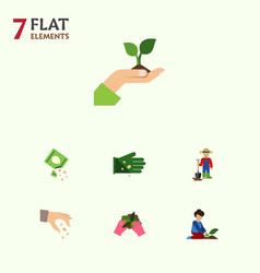 Flat icon sow set of florist plant glove and vector