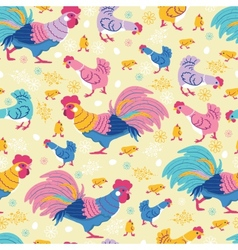 fun chickens seamless pattern background vector image