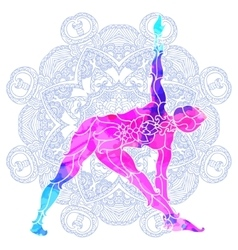 girl in yoga pose over ornate round mandala vector image