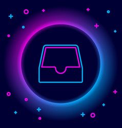 Glowing neon line social media inbox icon isolated vector
