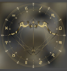 Golden bow and arrow zodiac Sagittarius sign vector