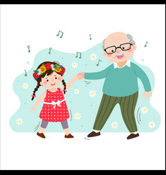Grandpa dancing with his little granddaughter vector