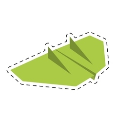 green paper aircraft flight toy cut line vector image