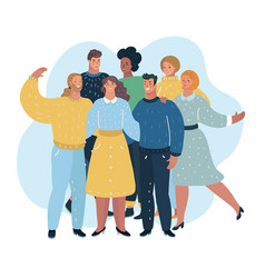 group of people standing together vector image