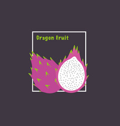 Hand drawing dragon fruit with slice on dark vector