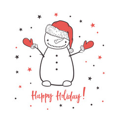 happy holiday cartoon with a snowman vector image