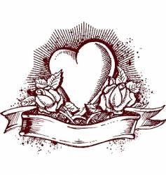 heart and roses emblem vector image vector image
