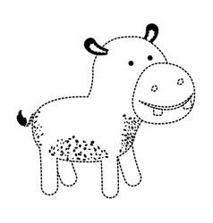 Hippopotamus cartoon in black dotted silhouette vector