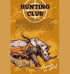 Hunting club banner with target and african animal vector