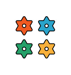 japanese shuriken colour icon colours japanese vector image
