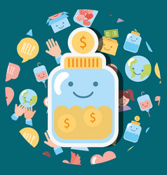 Jar glass coins money dollar kawaii charity vector
