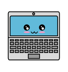 Kawaii laptop computer icon vector