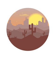 landscape design of the desert with cacti vector image